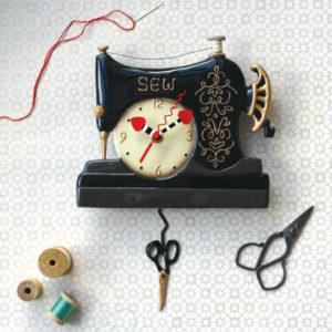 vintage sewing machine clock with scissor pendulum