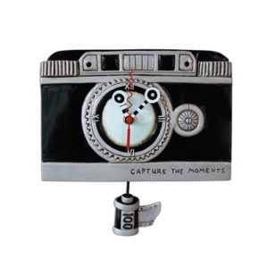 Vintage Camera Clock with film pendulum