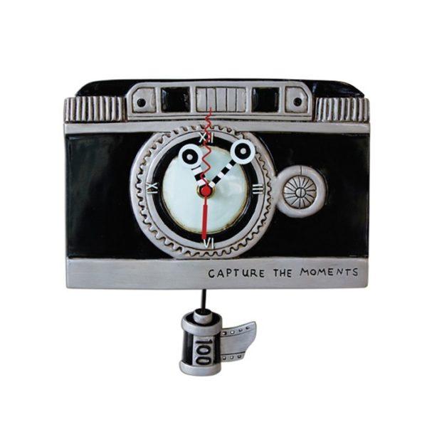 Vintage Camera Clock with film pendulum