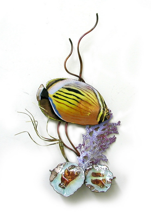 Blacktail Butterfly Fish in Coral copper wall art by bovano of cheshire