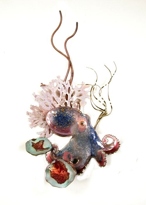 Purple Octopus with Grasses and Coral copper wall art by bovano of cheshire