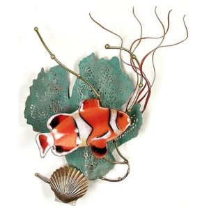Clownfish Fish With Sea Fan Copper Wall Art