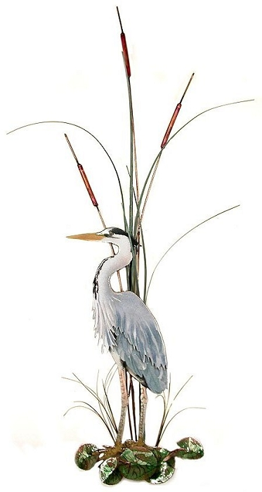 Large Great Blue Heron with Cattails, Facing Left copper wall art by bovano of cheshire