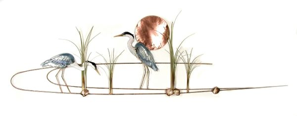 Large Heron Pair in water with Copper Sun copper wall art by bovano of cheshire