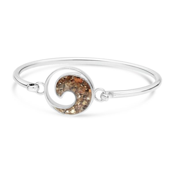 wave bracelet with sand sterling silver handmade in the USA by dune jewelry